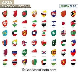 rugby, landen, collection., set., vlag, vlaggen, aziaat