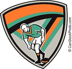 Rugby League Player Playing Ball Shield Retro - Illustration...