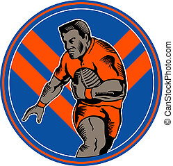 Rugby league player running ball - illustration of a Rugby...