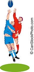 Rugby line out two player scramble - Illustration of a rugby...