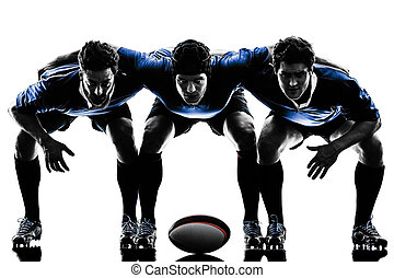 rugby men players silhouette - one caucasian rugby men...