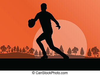 rugby, natura, campagna, illinois, fondo, silhouette, gioco, uomo