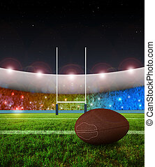 Rugby penalty kick - Night - Rugby stadium in night time and...