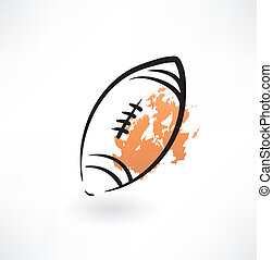 rugby piłka, grunge, ikona