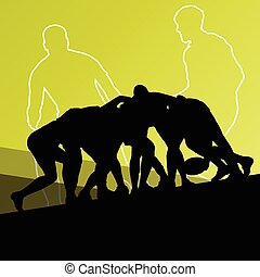 Rugby player active young men sport silhouettes abstract...