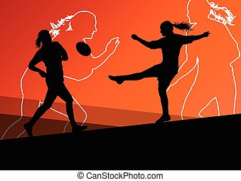 Rugby player active young women sport silhouettes abstract...