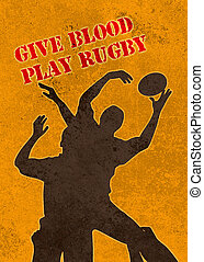 rugby player catching ball in lineout - poster illustration...