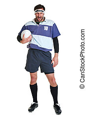 Rugby player cut out on white - Photo of a rugby player cut ...