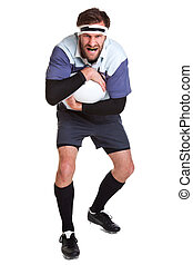 Rugby player cut out on white - Photo of a rugby player cut...