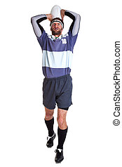 Rugby player cut out on white - Photo of a rugby player...
