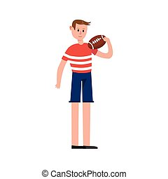 Rugby player holding a ball cartoon character vector Illustration