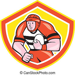 Rugby Player Holding Ball Shield Cartoon