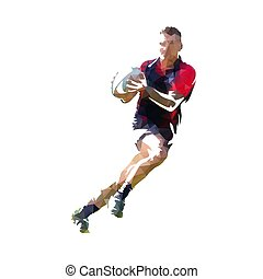 Rugby player in dark jersey running with ball, colorful polygonal vector illustration. Low poly