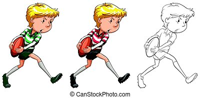 Rugby player in three different drawing styles