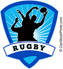 rugby player jumping to catch line-out - illustration of...