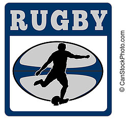 rugby player kicking ball - illustration of a rugby player...