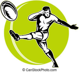 rugby player kicking ball retro - illustration of a rugby...