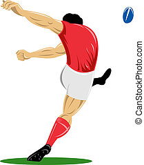 Illustration of a rugby player kicking rear to the left isolated on white background