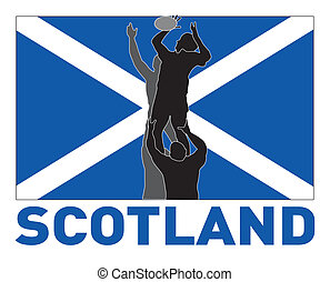 Rugby player lineout Scotland flag