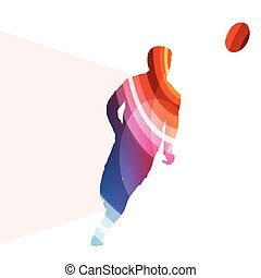 Rugby player man silhouette illustration vector background colorful concept