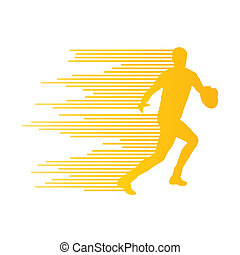 Rugby player man silhouette vector background concept made of st