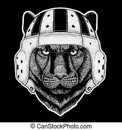 Rugby player. Panther Puma Cougar Wild cat Hand drawn image for tattoo, emblem, badge, logo, patch, t-shirt