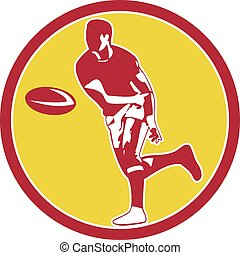 Rugby Player Passing Ball Circle Retro