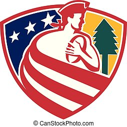 rugby-player-patriot-stripes-tree-SHIELD - Mascot icon...