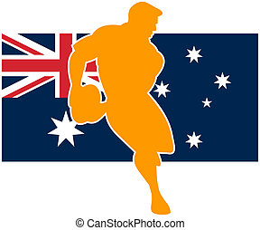 rugby player running ball australia