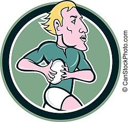 Rugby Player Running Ball Circle Cartoon