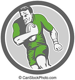Rugby Player Running Ball Circle Retro