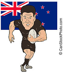 Rugby player running ball New Zealand flag isolated on white...