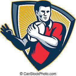 Rugby Player Running Ball Shield Retro