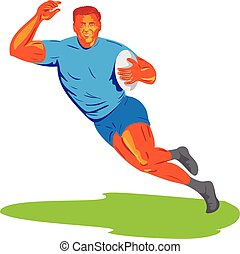 Rugby Player Running Ball WPA