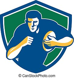 Rugby Player Running Fending Shield Retro