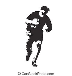 Rugby player running forward, abstract vector silhouette, front view