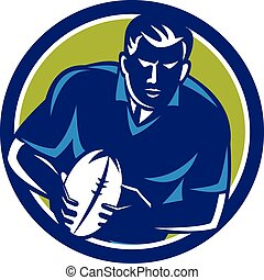 Rugby Player Running Passing Ball Circle Retro