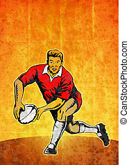 rugby player running passing with ball