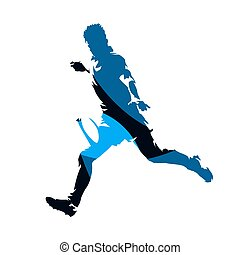 Rugby player running with ball, abstract blue geometric vector silhouette