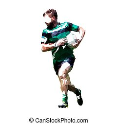 Rugby player running with ball, abstract geometric illustration