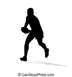 Rugby player running with ball in hands. Vector silhouette