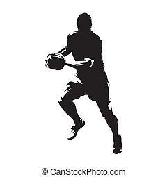 Rugby player running with ball, isolated vector...