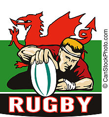 """illustration of a Rugby player scoring try viewed from front with wales or welsh flag in background and words """"rugby"""""""