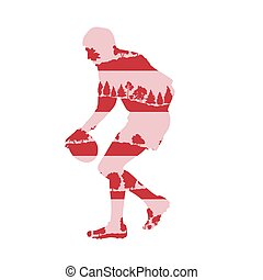Rugby player silhouette abstract background made of forest trees fragments isolated