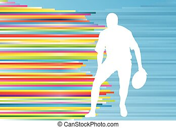 Rugby player silhouette abstract vector background