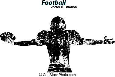 rugby., player., silhouette, footballeur, football américain