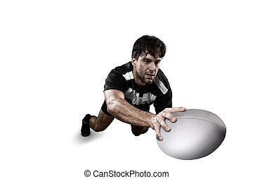 Rugby player in a Black and white uniform. White Background