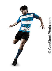 Rugby player in a blue uniform kicking. White Background