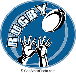 rugby player two hands catching ball - retro illustration...