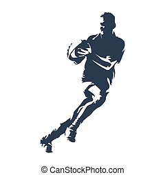 Rugby player with ball, abstract vector silhouette